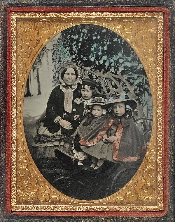 Ambrotypes. A quarter-plate hand-tinted ambrotype,