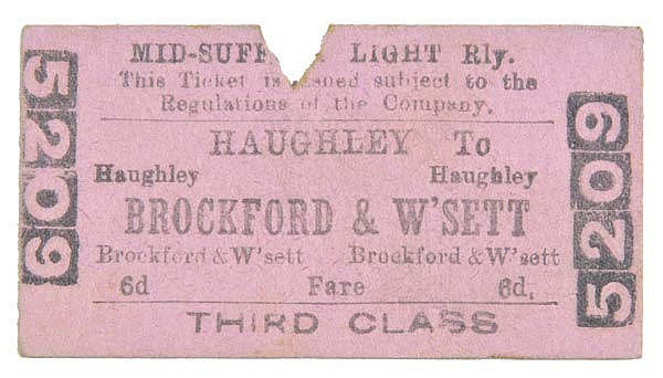 Mid-Suffolk Light Railway. A 3rd Class single from