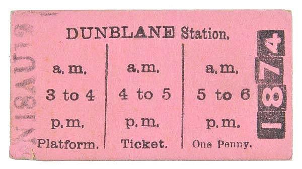 Caledonian Railway. A pink Type 1 platform ticket