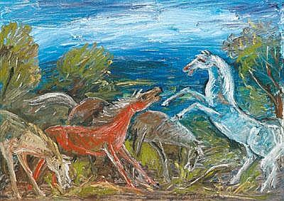 Franz von Zülow (Wien 1883-1963) Pferde am Fluß,