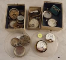 GROUP LOT OF POCKET WATCHES & PARTS (8 DAY