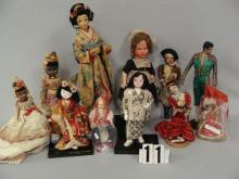 (11 PCS) BOX LOT OF ASSTD SIZE FOREIGN DOLLS