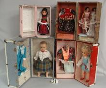 LOT: (4) DIFF SIZE DOLL TRUNKS