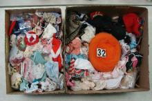 (2 BOXES) LOT CONTAINS DOLL CLOTHING,