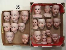 (2) BOXES OF ASSTD. SIZE ANTIQUE BISQUE DOLL