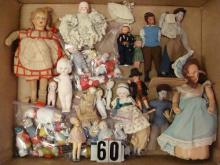 BOXLOT OF ASSTD. DOLLS INCLUDG. ALL-BISQUE