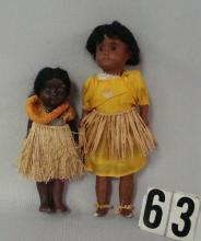 (2 PCS) 8 1/2 IN. PAINTED BROWN BISQUE GIRL