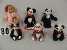 LOT OF (6) SMALL HAND CRAFTED TEDDY BEARS