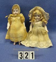(2) 5 IN. ALL BISQUE DOLLS: