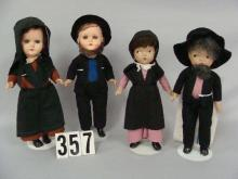 (2) PAIR OF AMISH DOLLS: GERMAN 11 IN. COMPO BODY