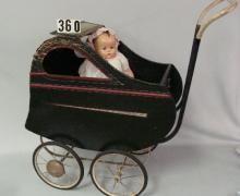 WOODEN DOLL CARRIAGE PAINTED BLACK