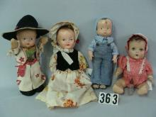 (4) COMPO DOLLS: EFFANBEE 14 IN. SKIPPY
