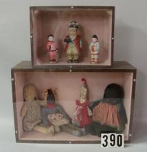(2) HANDMADE DISPLAY CASES WITH DOLLS,