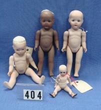 LOT OF (4) SMALL ALL-BISQUE DOLL ARTIST DOLLS