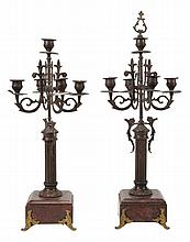 A pair of metal and marble mounted five light candelabra, late 19th century