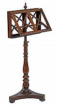A George IV rosewood duet stand, circa 1825