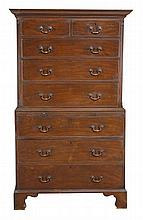 A George III mahogany chest on chest, circa 1790