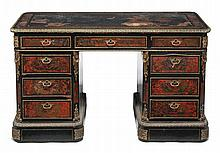 A Napoleon III ebonised, stained tortoiseshell and brass marquetry kneehole...