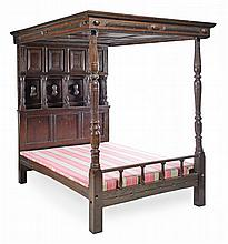 An oak tester bed , 17th century and later elements