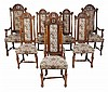 A set of eight Victorian oak dining chairs, in William and Mary style