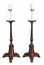 A pair of George IV mahogany and rosewood torcheres, circa 1825 and later