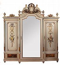 A cream painted and gilded mahogany bedroom suite of Louis XVI design