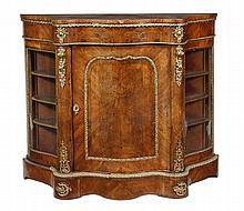 A Victorian burr and figured walnut serpentine fronted side cabinet, circa 1870