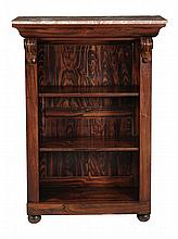 A rosewood, simulated rosewood and marble mounted open bookcase