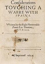 Considerations Touching a Warre with Spaine, first edition