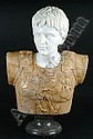 A variegated and white marble bust of Caesar