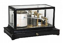 An ebonised barograph, Retailed by Yeates and Son,