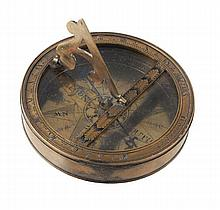 A George II brass pocket sundial, I. Coggs, second