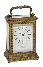 A fine French chased gilt brass carriage clock, Le