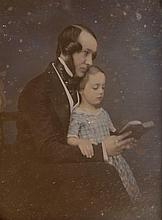 Photographer unknown. Daguerreotype of Man and Child, ca. 1850. A half-plate tinted daguerreotype i
