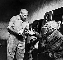 Lee Miller (1907-1977). Pablo Picasso and Georges Braque, 1954. Gelatin silver print on Agfa paper,