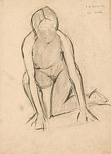 L.S. Lowry (1887-1976) - Figure study (ten minute drawing), circa 1960