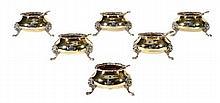 A set of six silver gilt cauldron salt cellars by