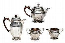 A matched silver octagonal four piece tea service