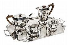 An Art Deco silver three piece tea service by