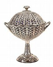 A Victorian silver twin handled comport and cover