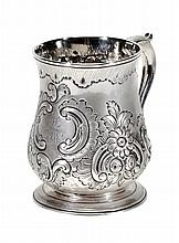 A George II silver baluster mug by Samuel Welles,
