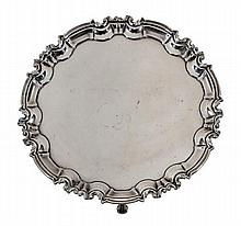 A late Victorian silver shaped circular salver by