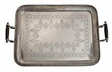 An Edwardian silver twin handled tray by Cooper
