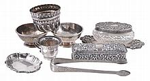 A collection of silver items, to include: an Edwardian rectangular dressing...