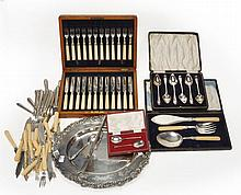 A cased set of twelve Edwardian silver fruit knives and forks by Harrison...
