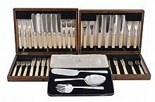 Three sets of electro-plated flatware, to include
