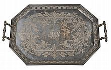 An electro-plated octagonal tray, with twin masked handles, a beaded border
