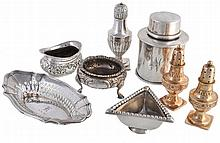 A collection of silver items, to include: a silver cylindrical canister by...