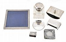 A collection of silver, to include: a square glass inkwell with silver mount...