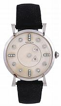 Gruen, Mystery Dial, ref. 422-028, a 14 carat white gold wristwatch, no